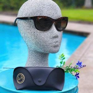 RAY-BAN Brown Gradient Rectangular Sunglasses, New